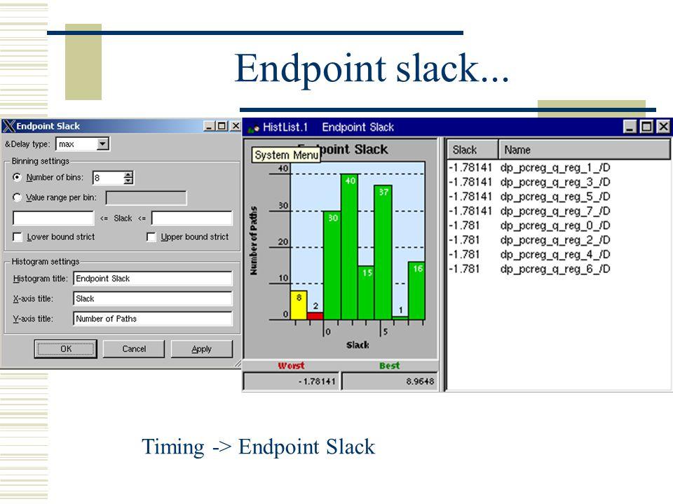 Endpoint slack... Timing -> Endpoint Slack