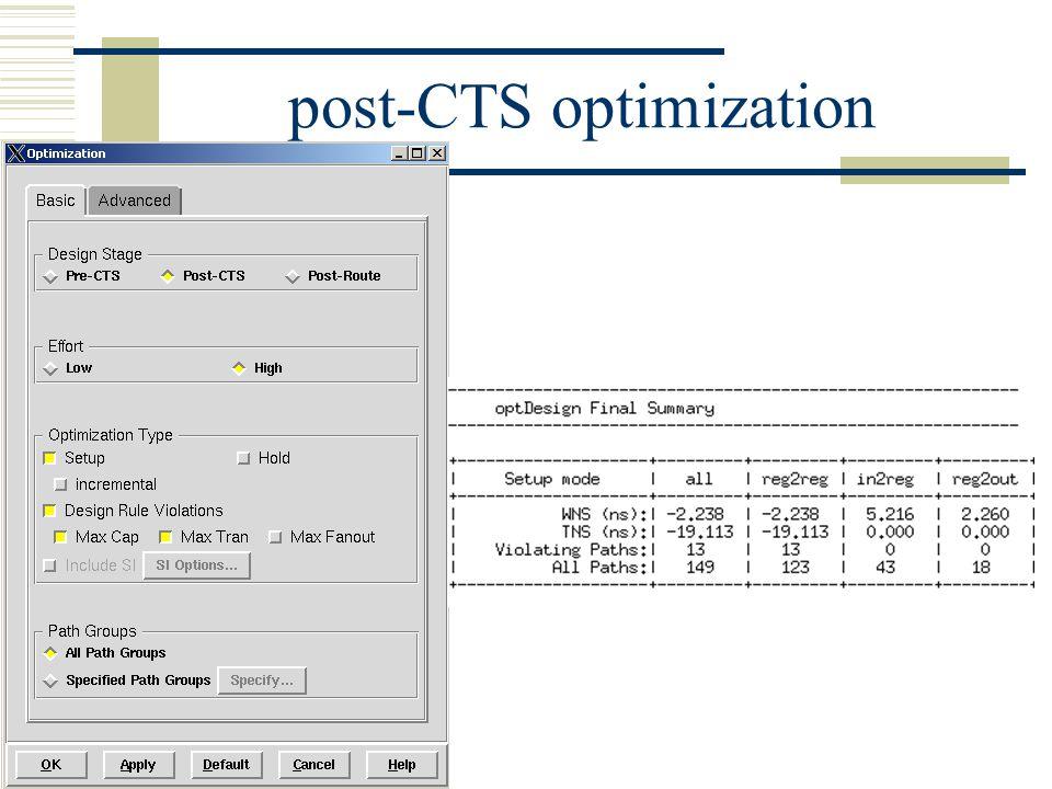 post-CTS optimization