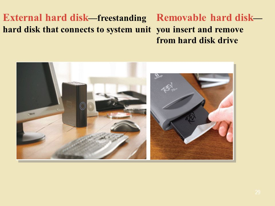 External hard disk —freestanding hard disk that connects to system unit Removable hard disk — you insert and remove from hard disk drive 29