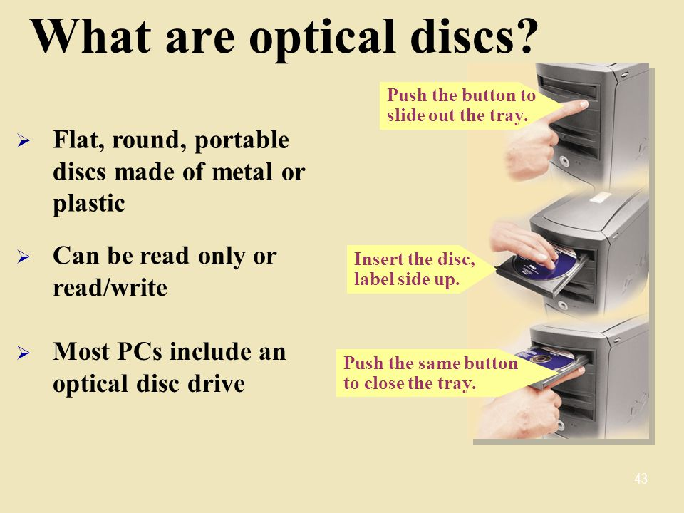 Push the same button to close the tray.What are optical discs.