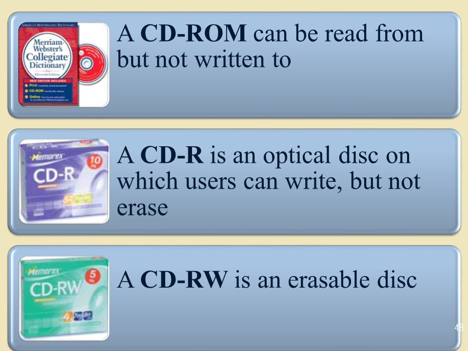 A CD-ROM can be read from but not written to A CD-R is an optical disc on which users can write, but not erase A CD-RW is an erasable disc 48