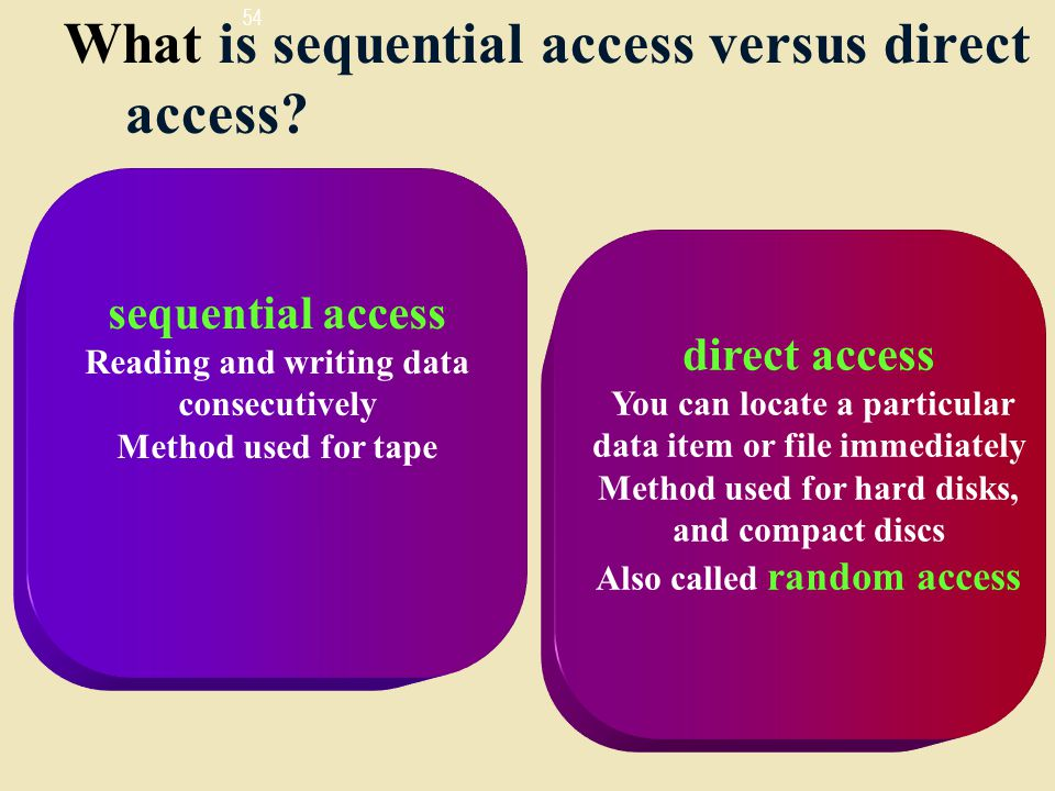 54 What is sequential access versus direct access.