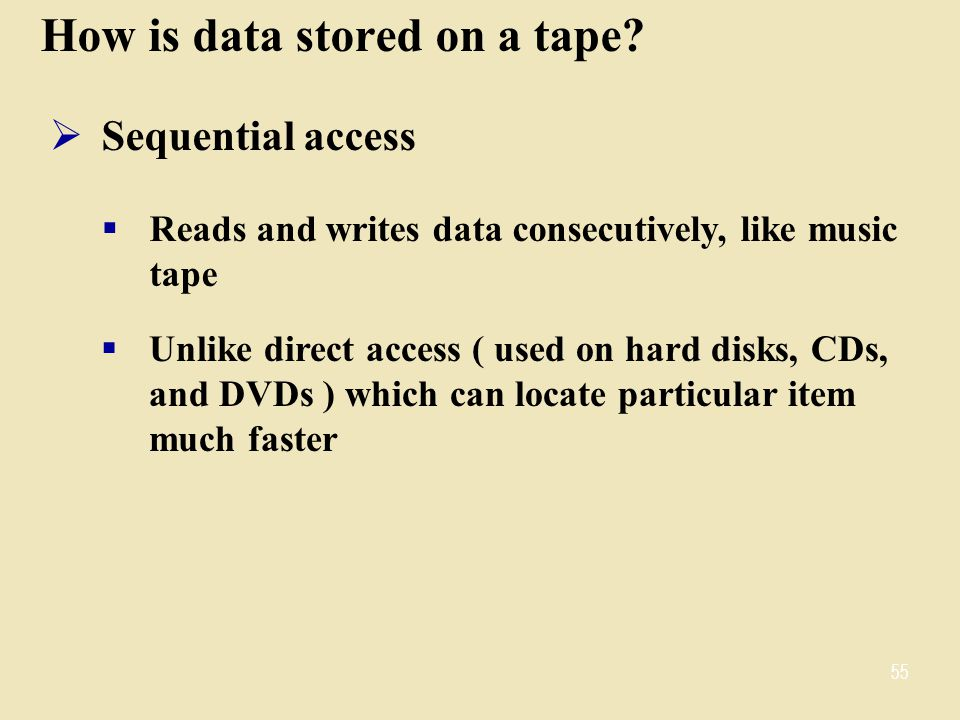 How is data stored on a tape.