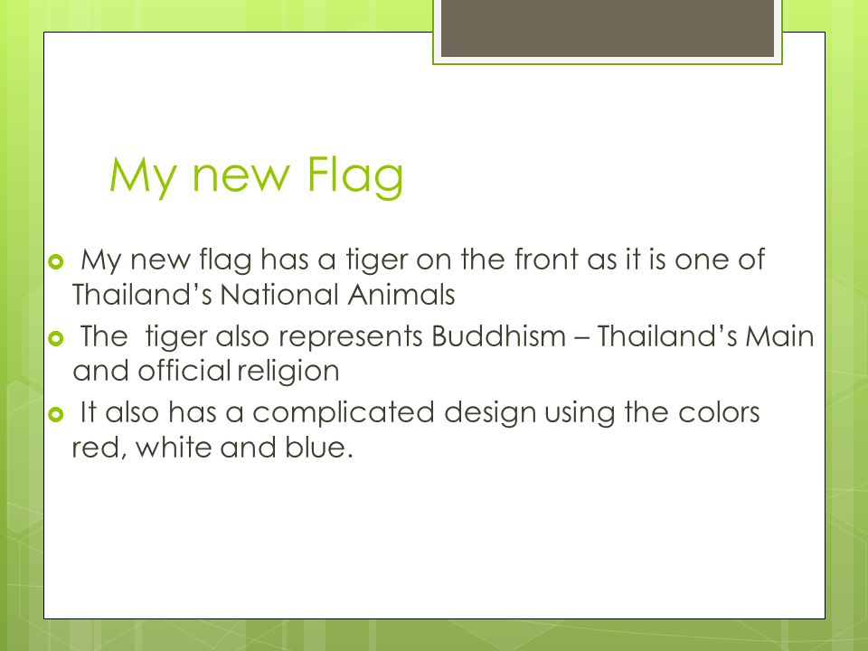 My new Flag  My new flag has a tiger on the front as it is one of Thailand's National Animals  The tiger also represents Buddhism – Thailand's Main and official religion  It also has a complicated design using the colors red, white and blue.