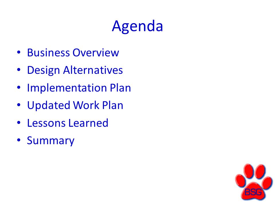 Implementation Plan A.Preparing the Business 1. Conversion Strategy 2.