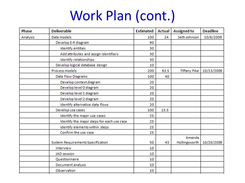 Work Plan (cont.)
