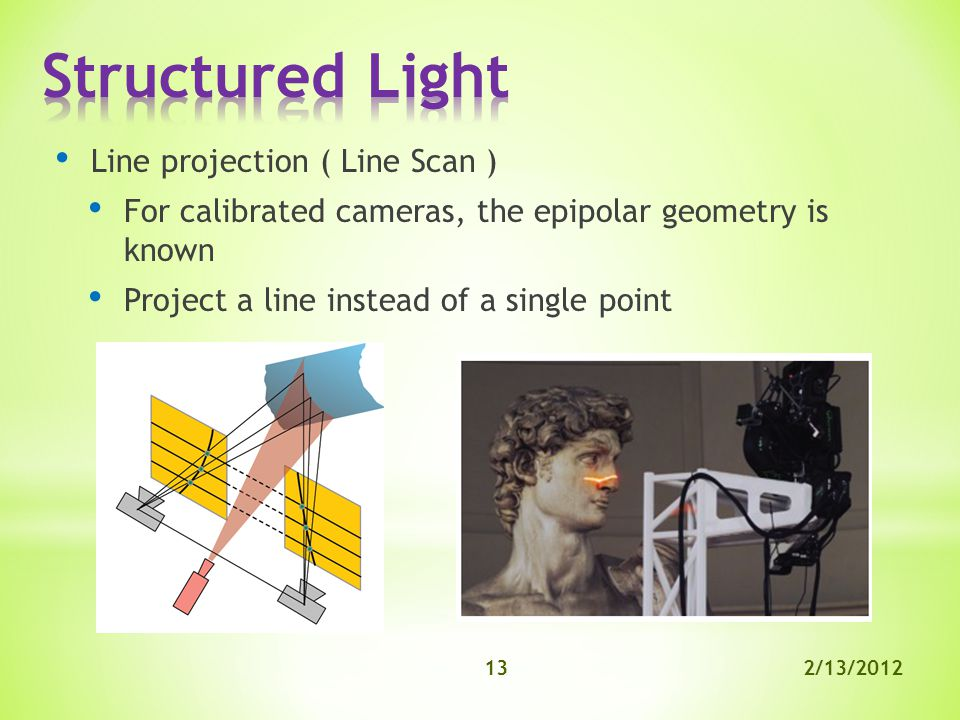 2/13/201213 Line projection ( Line Scan ) For calibrated cameras, the epipolar geometry is known Project a line instead of a single point