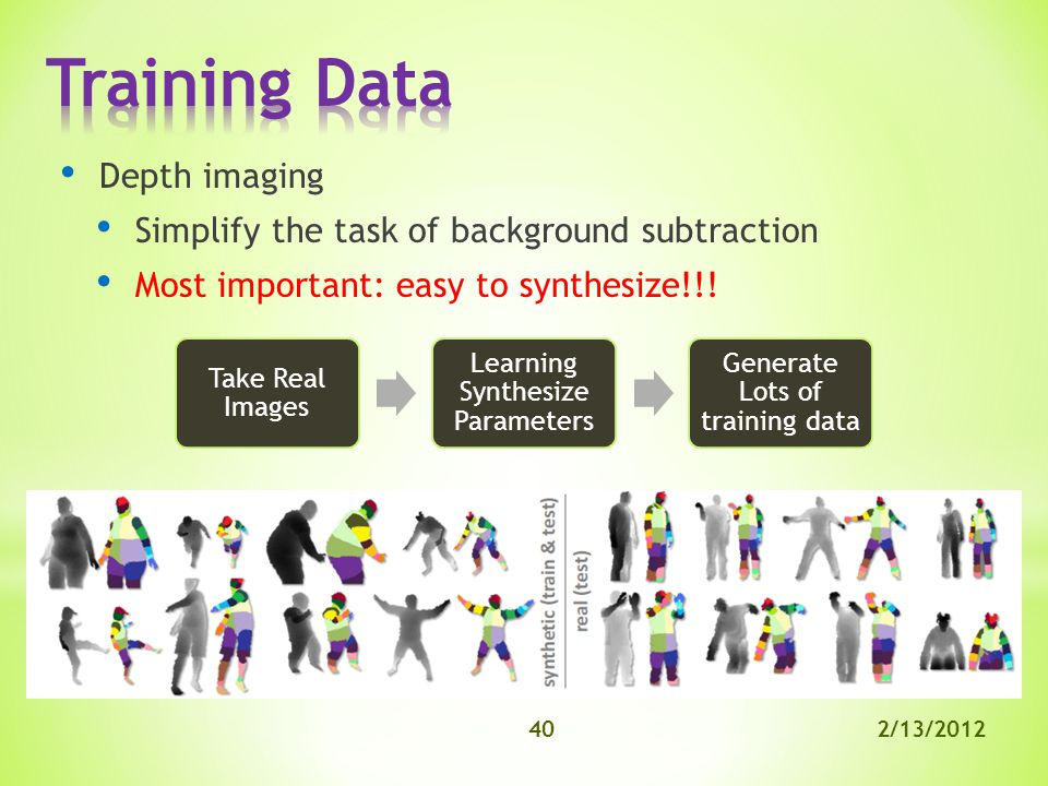 2/13/201240 Depth imaging Simplify the task of background subtraction Most important: easy to synthesize!!.