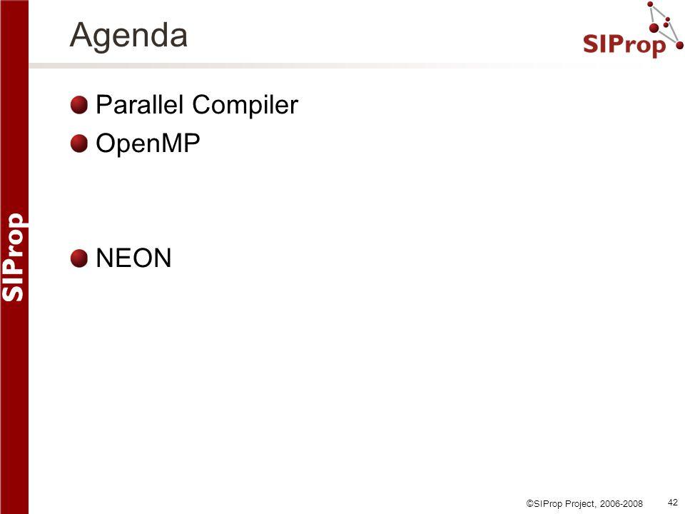 ©SIProp Project, 2006-2008 42 Agenda Parallel Compiler OpenMP NEON