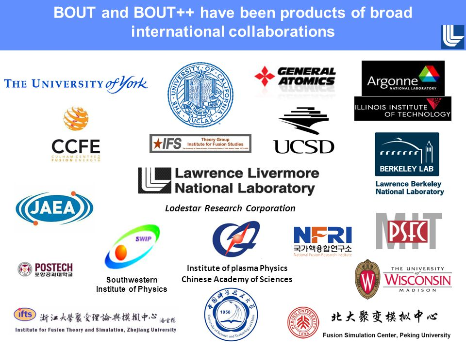 BOUT and BOUT++ have been products of broad international collaborations Lodestar Research Corporation Institute of plasma Physics Chinese Academy of