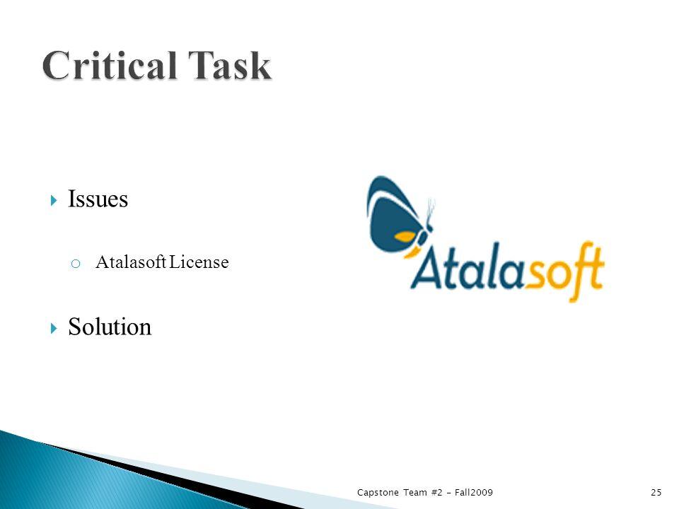  Issues o Atalasoft License  Solution Capstone Team #2 - Fall200925
