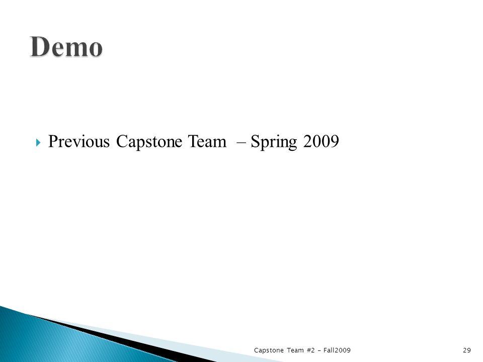  Previous Capstone Team – Spring 2009 Capstone Team #2 - Fall200929