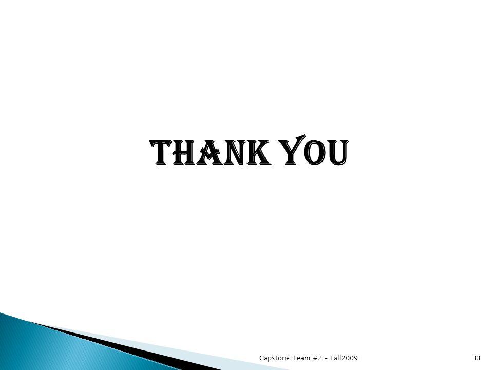 THANK YOU Capstone Team #2 - Fall200933