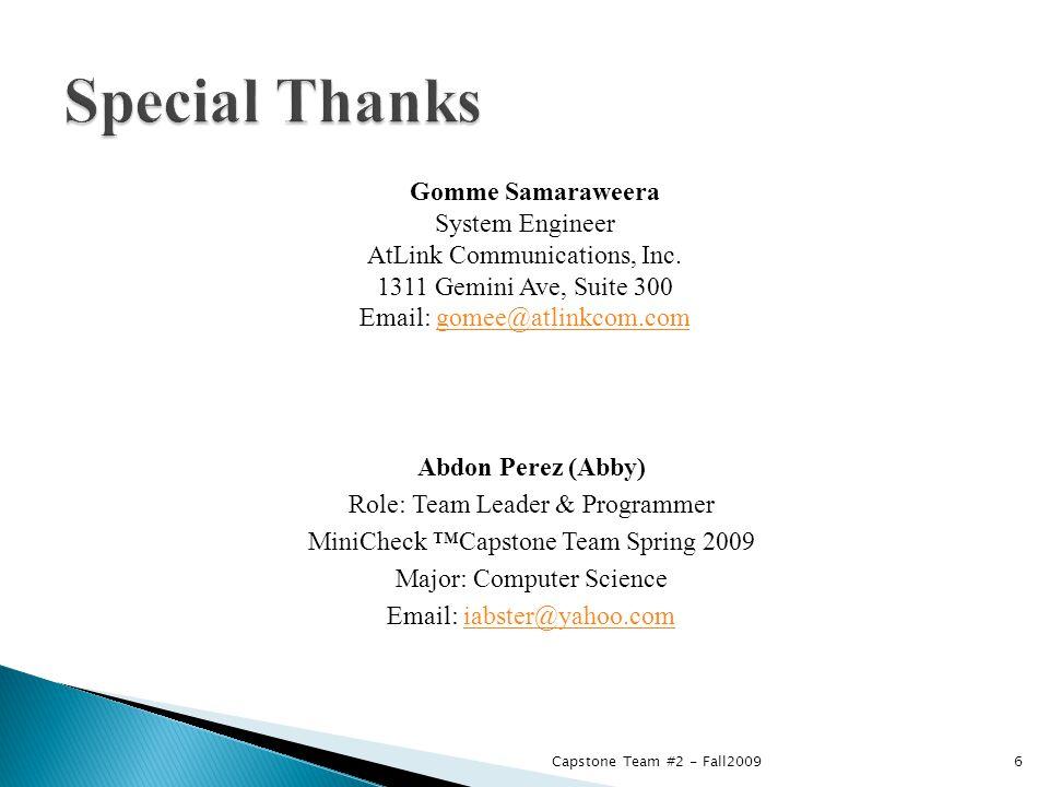 Gomme Samaraweera System Engineer AtLink Communications, Inc.