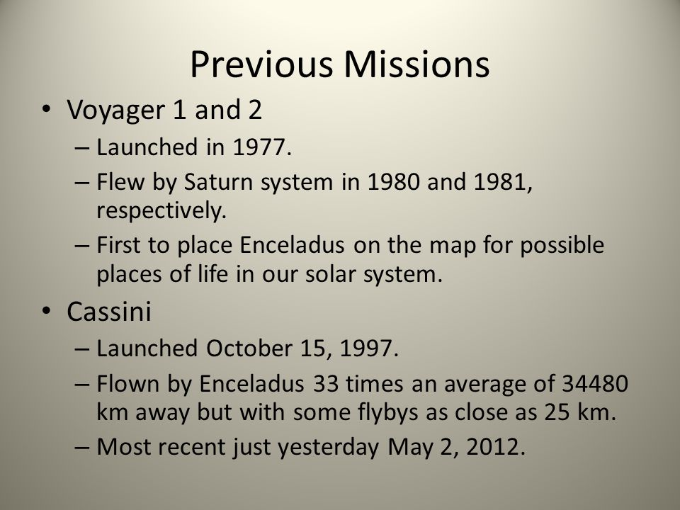 Previous Missions Voyager 1 and 2 – Launched in 1977.