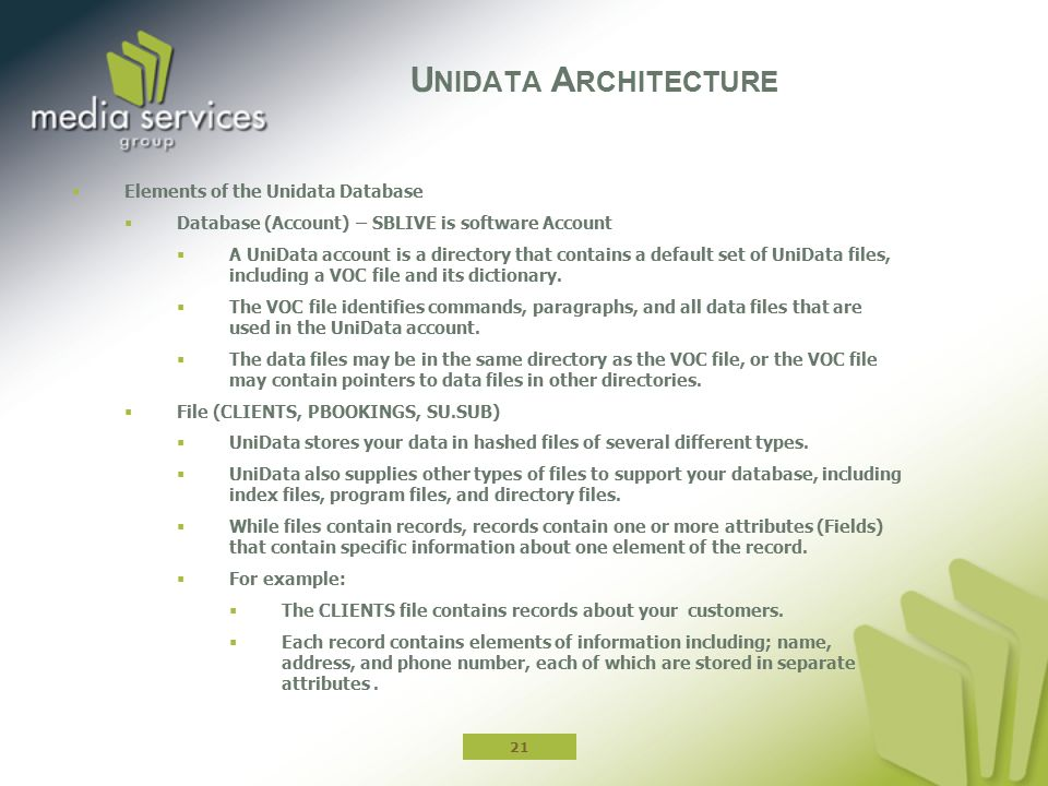  Elements of the Unidata Database  Database (Account) – SBLIVE is software Account  A UniData account is a directory that contains a default set of UniData files, including a VOC file and its dictionary.