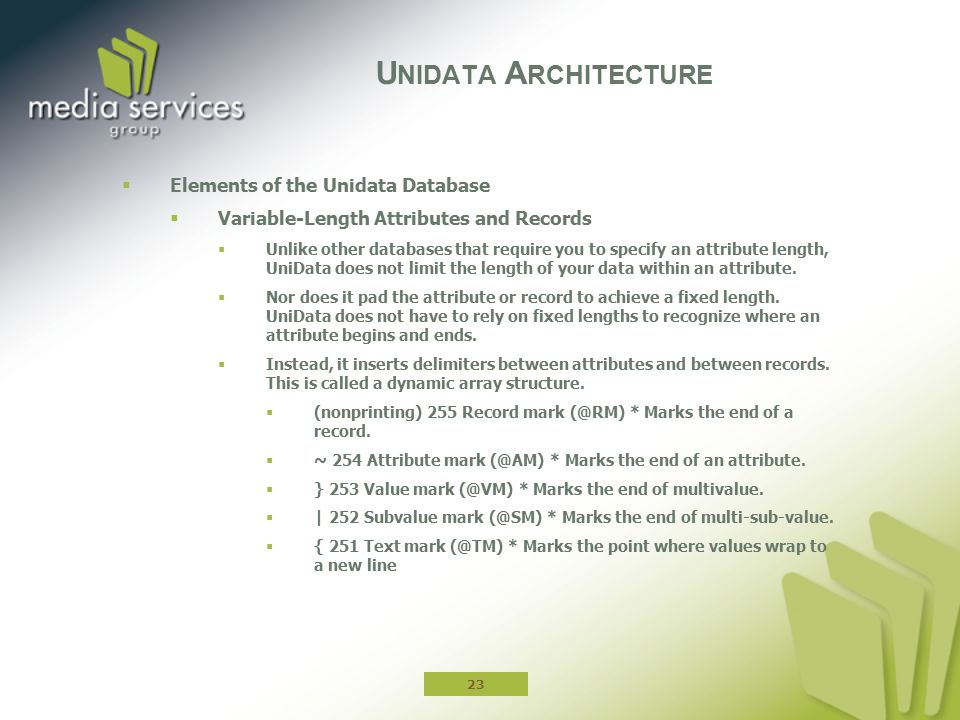  Elements of the Unidata Database  Variable-Length Attributes and Records  Unlike other databases that require you to specify an attribute length,