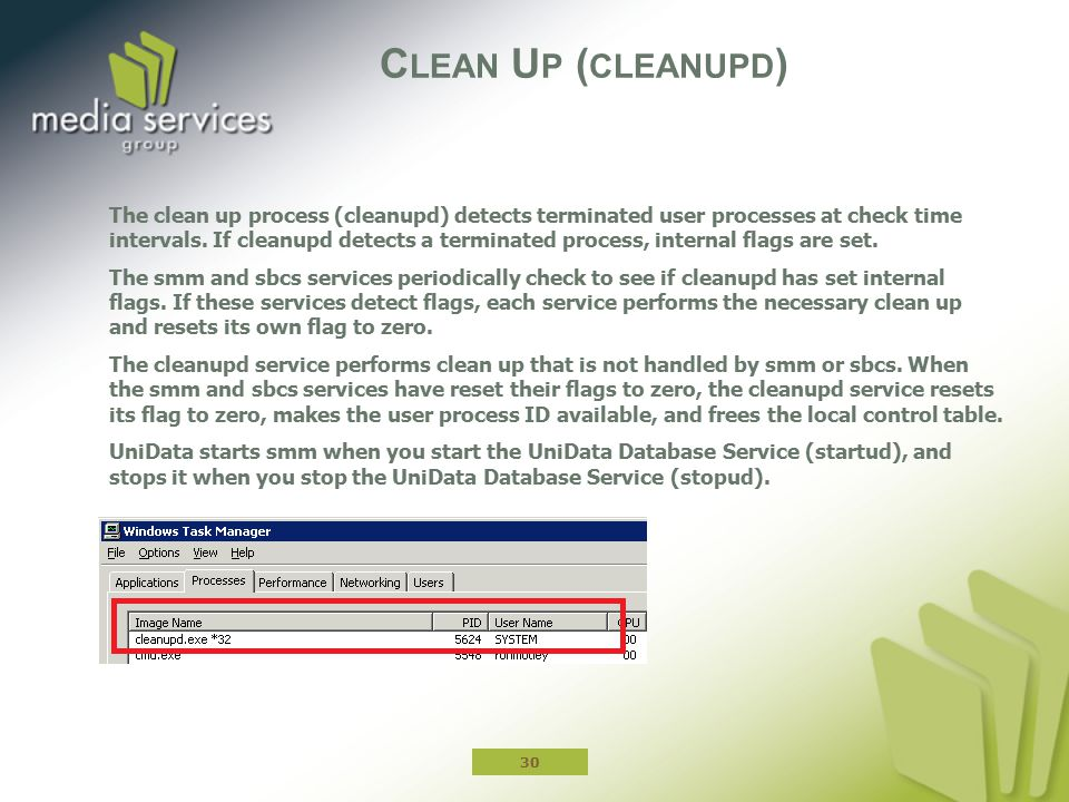 C LEAN U P ( CLEANUPD ) The clean up process (cleanupd) detects terminated user processes at check time intervals.