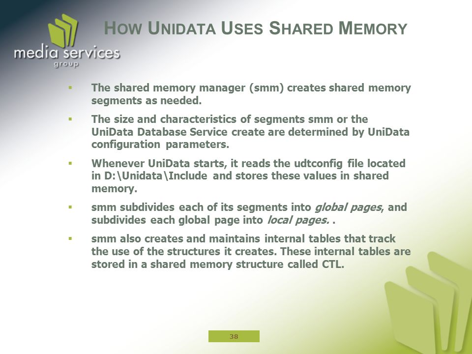 H OW U NIDATA U SES S HARED M EMORY  The shared memory manager (smm) creates shared memory segments as needed.