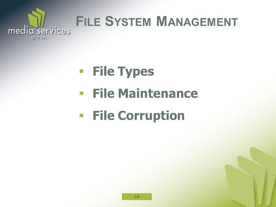  File Types  File Maintenance  File Corruption F ILE S YSTEM M ANAGEMENT 58