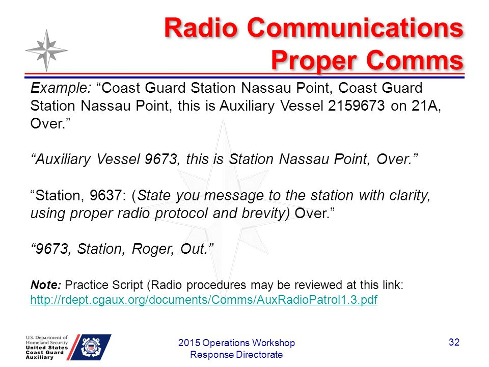 Radio Communications Proper Comms 2015 Operations Workshop Response Directorate 32 Example: Coast Guard Station Nassau Point, Coast Guard Station Nassau Point, this is Auxiliary Vessel 2159673 on 21A, Over. Auxiliary Vessel 9673, this is Station Nassau Point, Over. Station, 9637: (State you message to the station with clarity, using proper radio protocol and brevity) Over. 9673, Station, Roger, Out. Note: Practice Script (Radio procedures may be reviewed at this link: http://rdept.cgaux.org/documents/Comms/AuxRadioPatrol1.3.pdf http://rdept.cgaux.org/documents/Comms/AuxRadioPatrol1.3.pdf