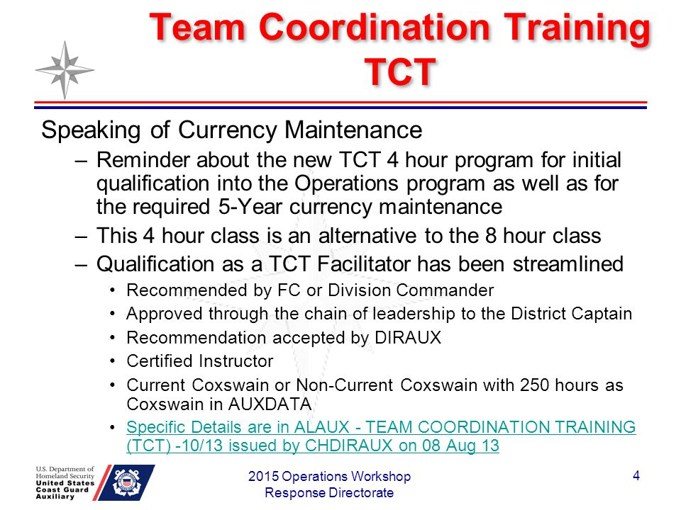 Team Coordination Training TCT Speaking of Currency Maintenance –Reminder about the new TCT 4 hour program for initial qualification into the Operations program as well as for the required 5-Year currency maintenance –This 4 hour class is an alternative to the 8 hour class –Qualification as a TCT Facilitator has been streamlined Recommended by FC or Division Commander Approved through the chain of leadership to the District Captain Recommendation accepted by DIRAUX Certified Instructor Current Coxswain or Non-Current Coxswain with 250 hours as Coxswain in AUXDATA Specific Details are in ALAUX - TEAM COORDINATION TRAINING (TCT) -10/13 issued by CHDIRAUX on 08 Aug 13Specific Details are in ALAUX - TEAM COORDINATION TRAINING (TCT) -10/13 issued by CHDIRAUX on 08 Aug 13 2015 Operations Workshop Response Directorate 4