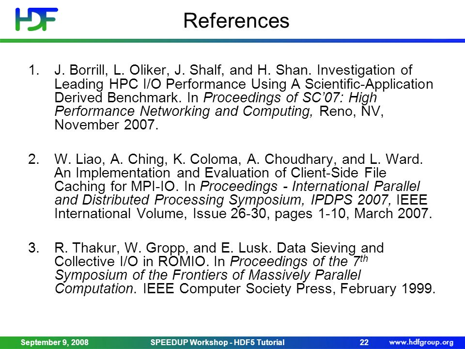 References 1.J. Borrill, L. Oliker, J. Shalf, and H.