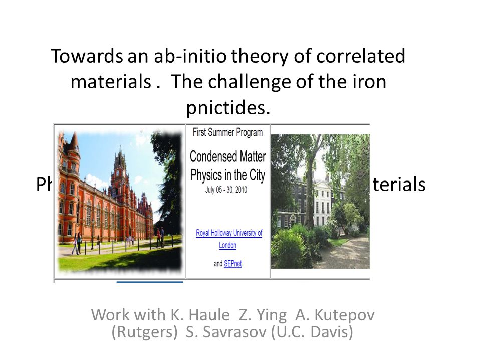 Towards an ab-initio theory of correlated materials.