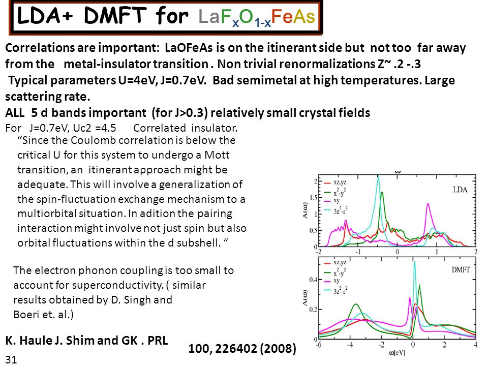 Correlations are important: LaOFeAs is on the itinerant side but not too far away from the metal-insulator transition.