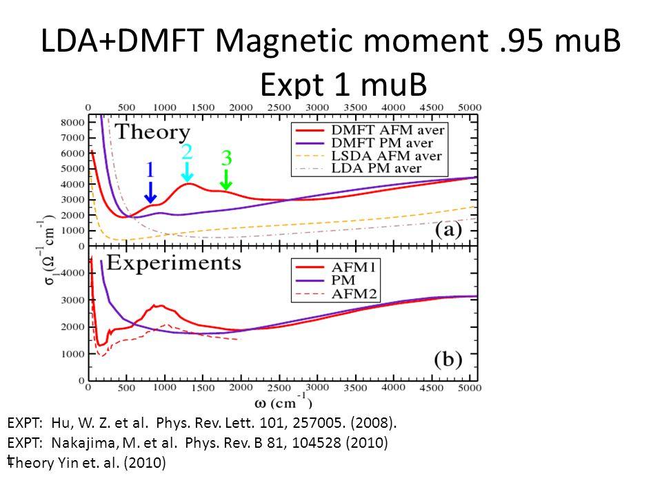 LDA+DMFT Magnetic moment.95 muB Expt 1 muB L EXPT: Hu, W.