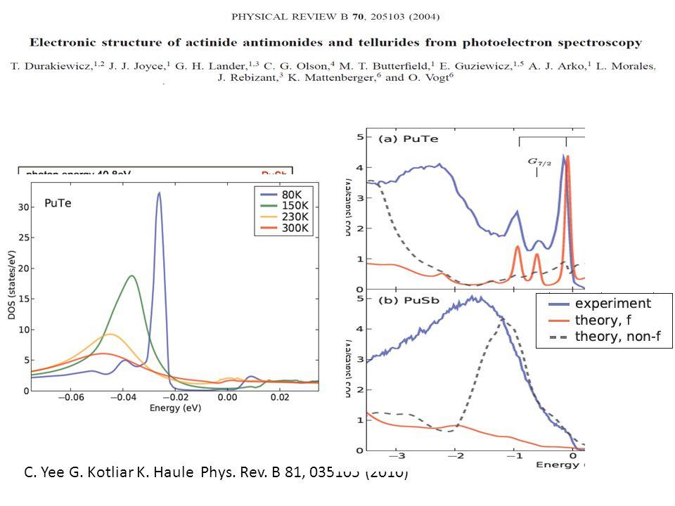 C. Yee G. Kotliar K. Haule Phys. Rev. B 81, 035105 (2010)