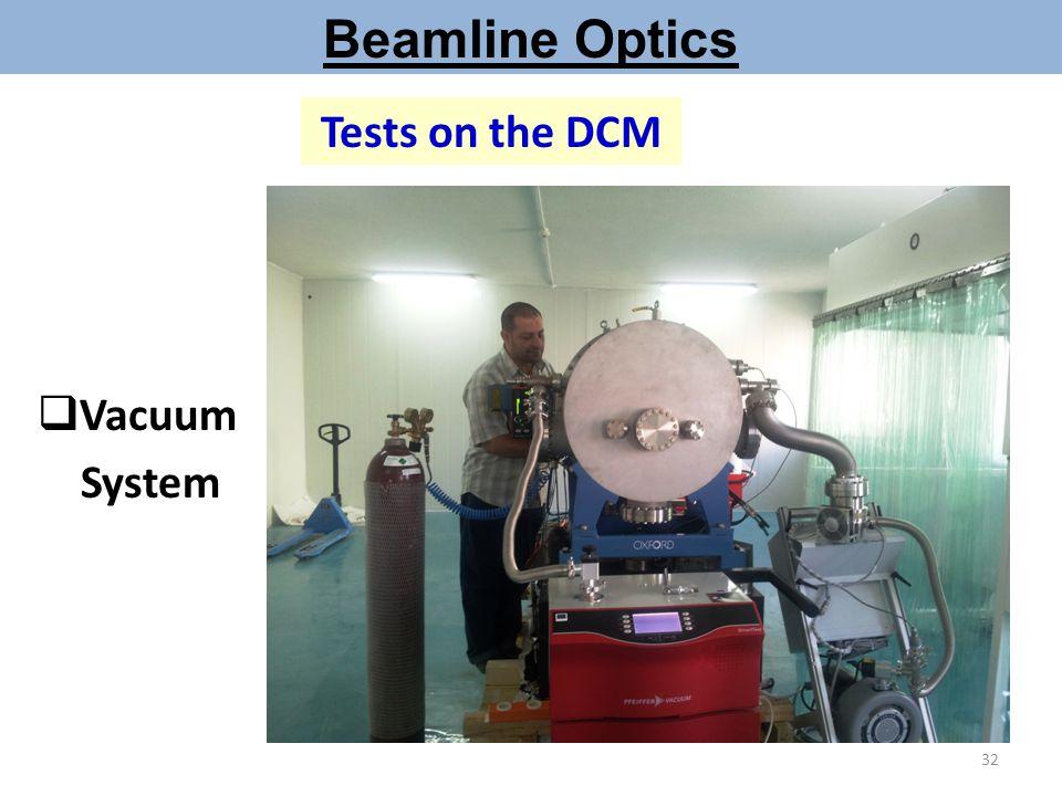 Beamline Optics Tests on the DCM  Vacuum System 32