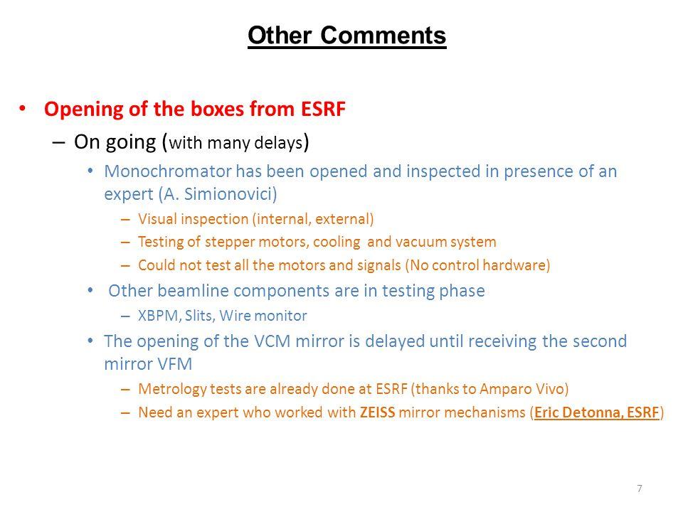KB Focusing system Secondary source (S1 sample)Focused beam (S2 sample) 8x10  m 2 ~5x10 9 Ph/sec 38