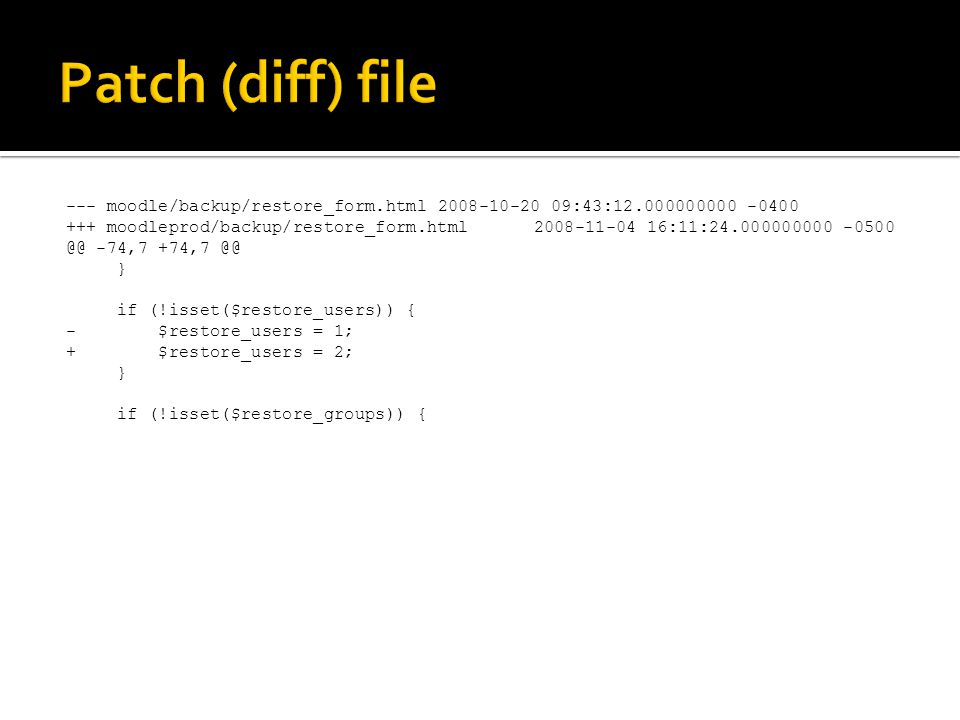 --- moodle/backup/restore_form.html2008-10-20 09:43:12.000000000 -0400 +++ moodleprod/backup/restore_form.html2008-11-04 16:11:24.000000000 -0500 @@ -74,7 +74,7 @@ } if (!isset($restore_users)) { - $restore_users = 1; + $restore_users = 2; } if (!isset($restore_groups)) {