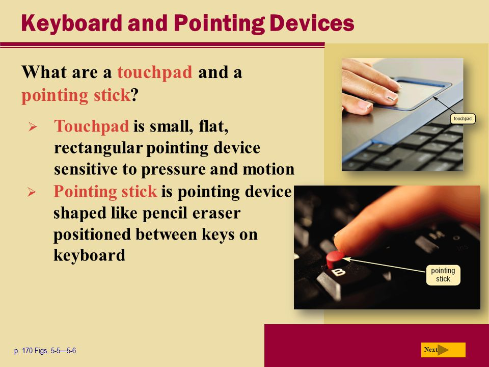 Keyboard and Pointing Devices What are a touchpad and a pointing stick? p. 170 Figs. 5-5—5-6 Next  Touchpad is small, flat, rectangular pointing devi