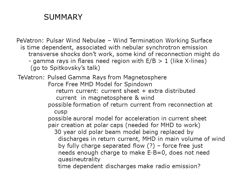 SUMMARY PeVatron: Pulsar Wind Nebulae – Wind Termination Working Surface is time dependent, associated with nebular synchrotron emission transverse sh