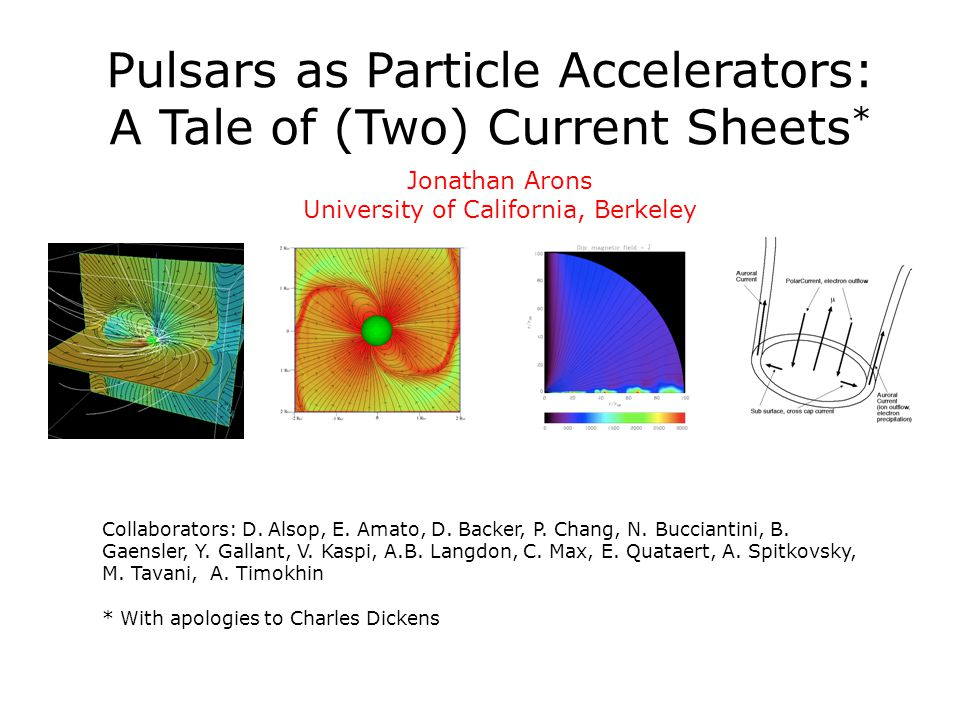 Pulsars as Particle Accelerators: A Tale of (Two) Current Sheets * Jonathan Arons University of California, Berkeley Collaborators: D. Alsop, E. Amato