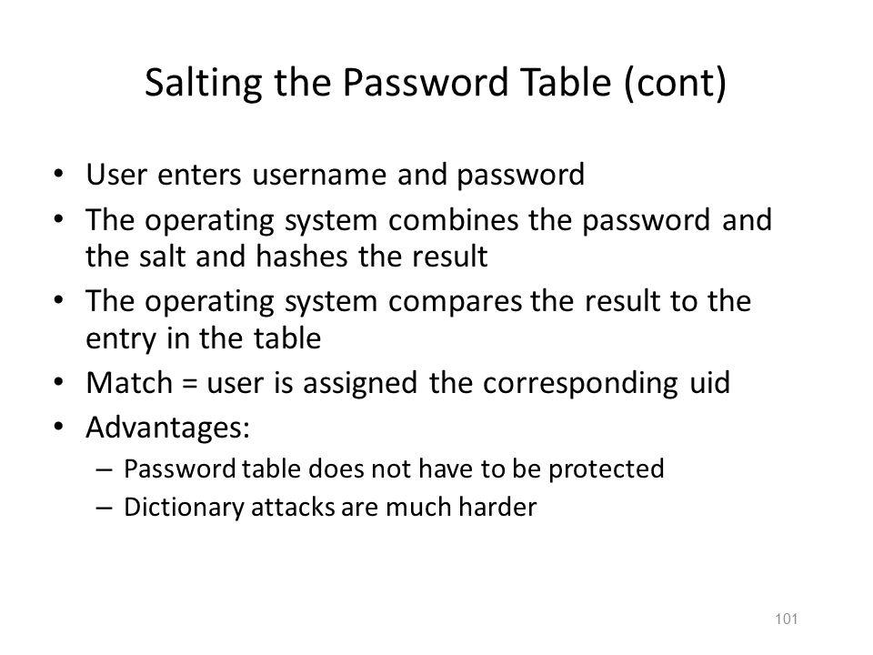 100 Salting the Password Table Password table contains: – Salt value = plre – h(password+salt) = h(baseballplre) = FSXMXFNB