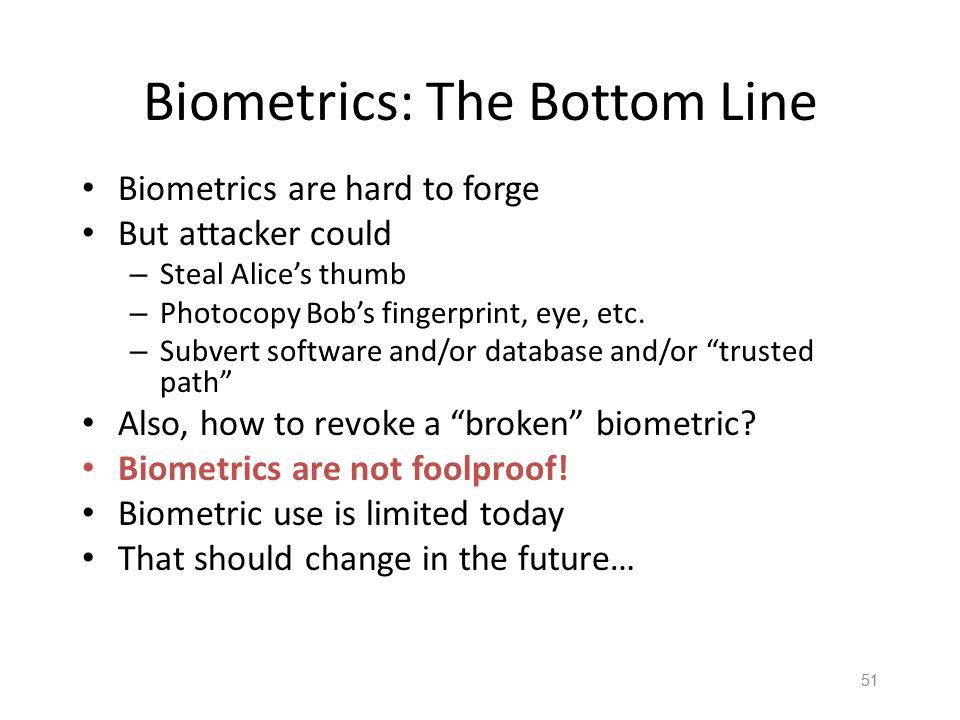50 Equal Error Rate Comparison Equal error rate (EER): rate for fraud == insult Fingerprint biometric has EER of about 5% Hand geometry has EER of abo
