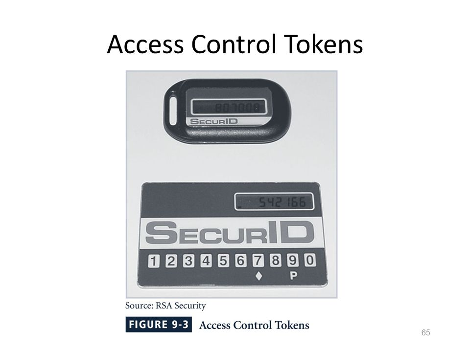 64 Types of Security Tokens Passive – Act as a storage device for the base key – Do not emit, or otherwise share, base tokens Active – Actively create