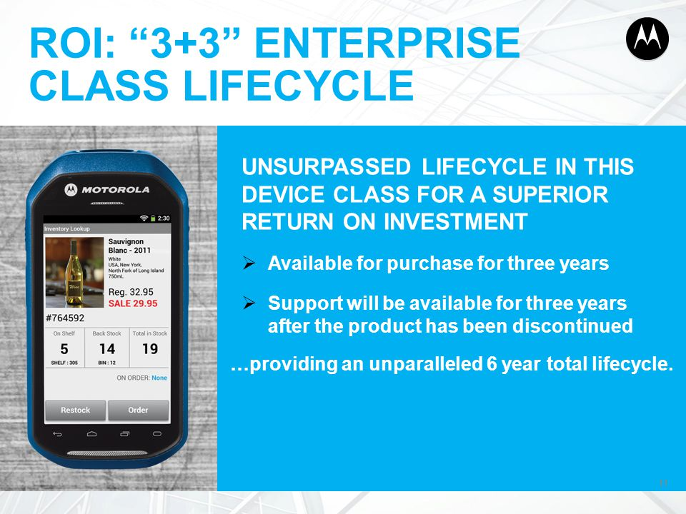 """11 ROI: """"3+3"""" ENTERPRISE CLASS LIFECYCLE 11 UNSURPASSED LIFECYCLE IN THIS DEVICE CLASS FOR A SUPERIOR RETURN ON INVESTMENT  Available for purchase fo"""