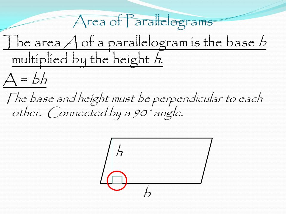 Area of Parallelograms The area A of a parallelogram is the base b multiplied by the height h.