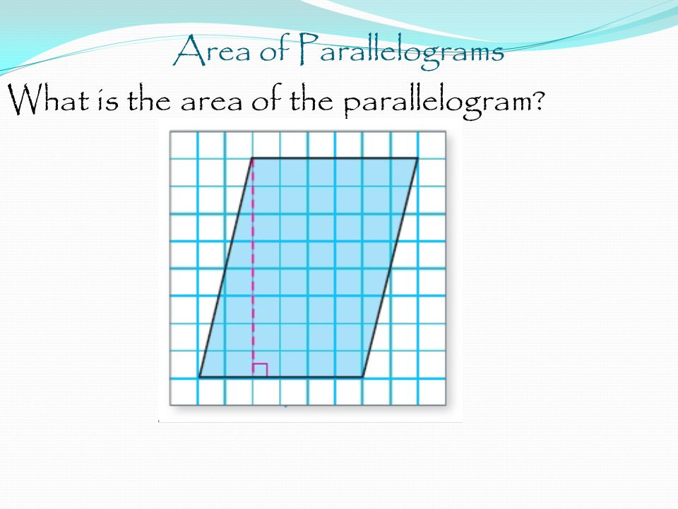 Area of Parallelograms What is the area of the parallelogram