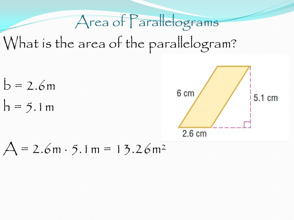 Area of Parallelograms What is the area of the parallelogram.