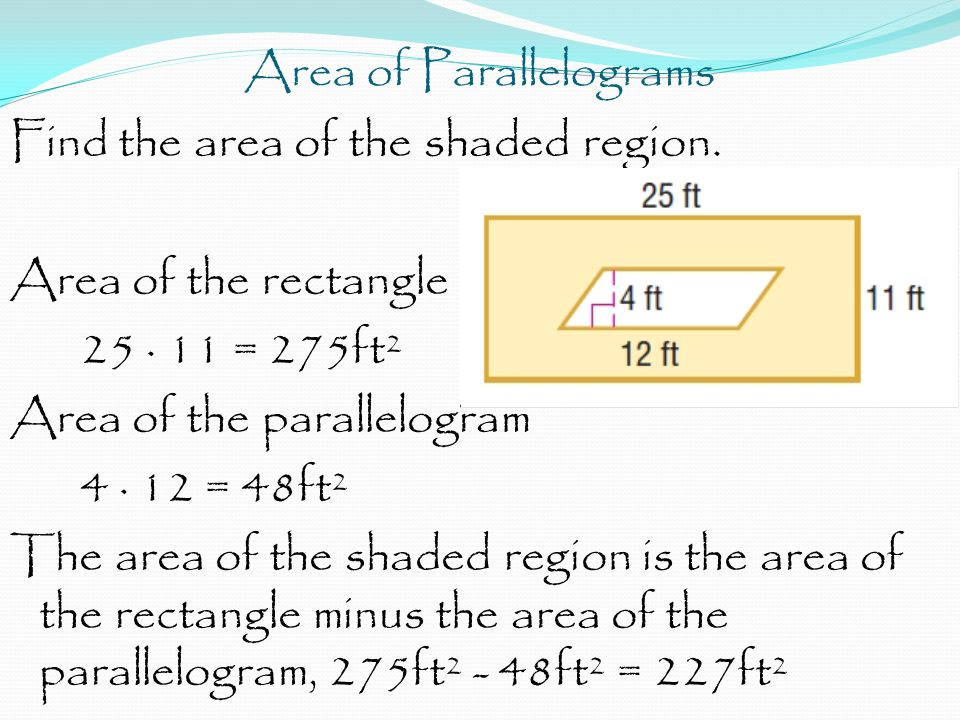 Area of Parallelograms Find the area of the shaded region.