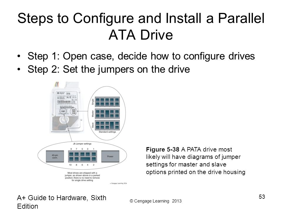 © Cengage Learning 2013 A+ Guide to Hardware, Sixth Edition 53 Steps to Configure and Install a Parallel ATA Drive Step 1: Open case, decide how to configure drives Step 2: Set the jumpers on the drive Figure 5-38 A PATA drive most likely will have diagrams of jumper settings for master and slave options printed on the drive housing