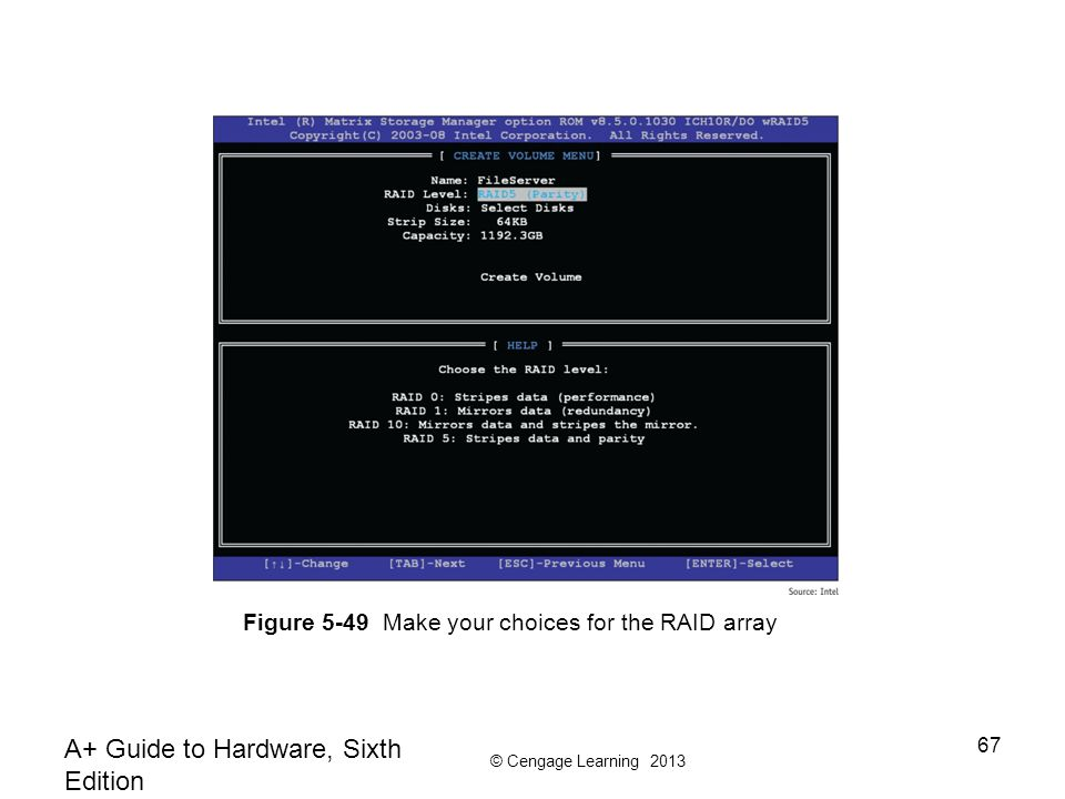 © Cengage Learning 2013 A+ Guide to Hardware, Sixth Edition 67 Figure 5-49 Make your choices for the RAID array