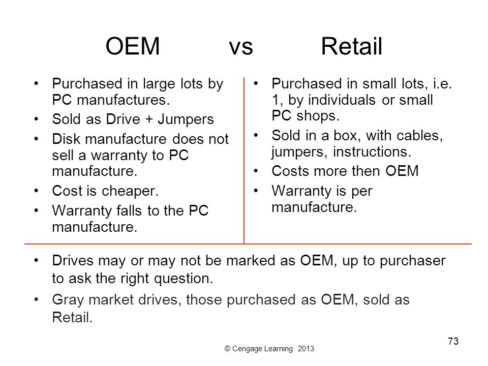 © Cengage Learning 2013 73 OEM vs Retail Purchased in large lots by PC manufactures.