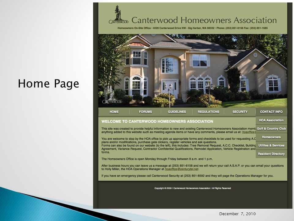 Home Page December 7, 2010