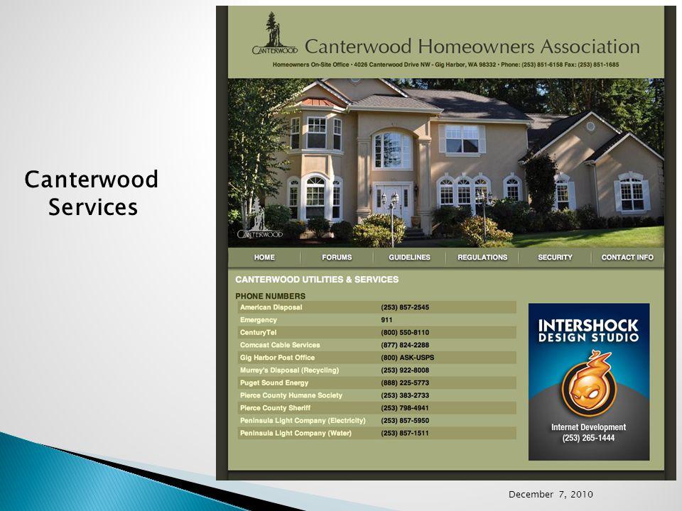 Canterwood Services December 7, 2010